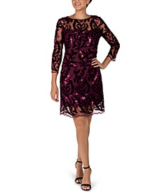 Velvet Embroidered Mesh Sheath Dress
