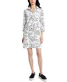 MSK Printed Grommet-Detail Shift Dress