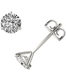 Moissanite Three Prong Stud Earrings (1-1/5 ct. t.w. DEW) in 14k White Gold