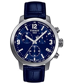 Men's Swiss Chronograph Blue Leather Strap Watch 42mm T0554171604700