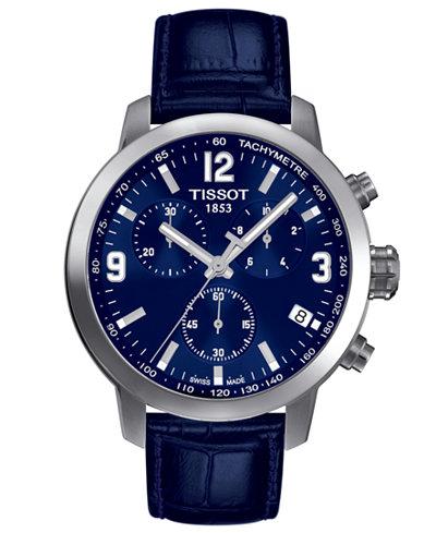 Tissot Men's Swiss Chronograph Blue Leather Strap Watch 42mm T0554171604700