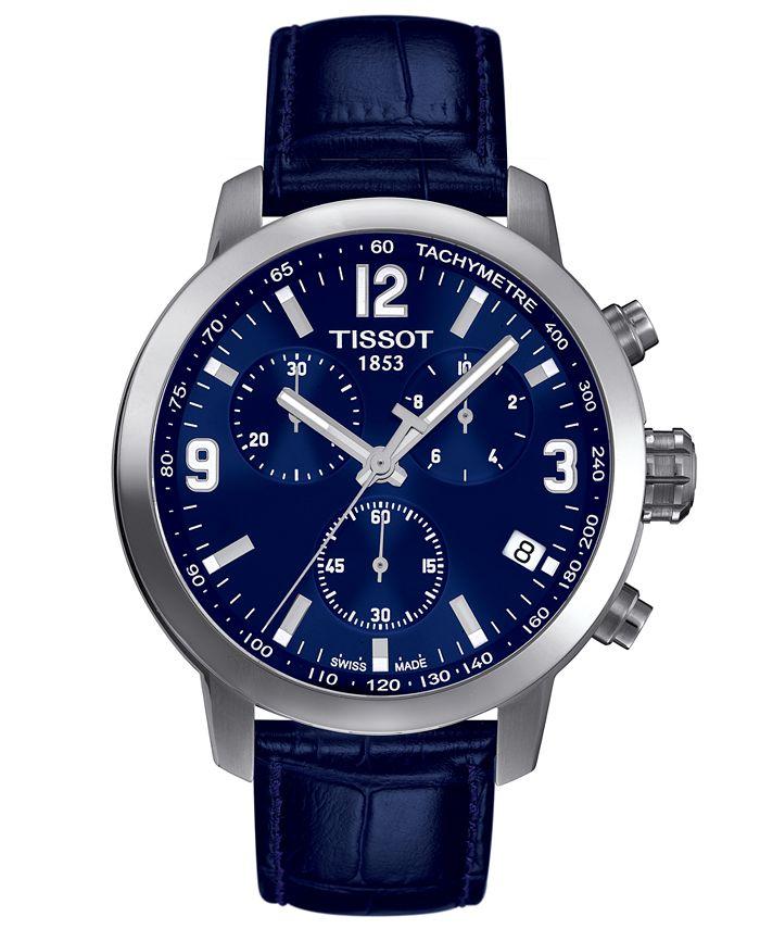 Tissot - Men's Swiss Chronograph Blue Leather Strap Watch 42mm T0554171604700