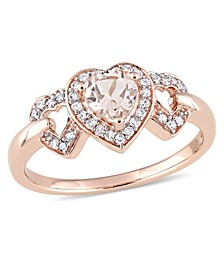 Morganite and Diamond Linked Heart Ring