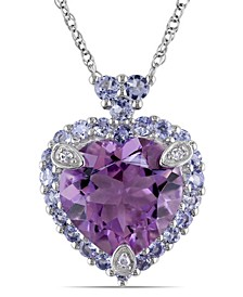 Amethyst Tanzanite and Diamond Accent Heart Necklace