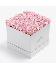 Square Box of 25 Pink Real Roses Preserved to Last Over a Year