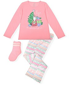 Big Girl's 2 Piece Christmas Tree Pajama Set with Socks