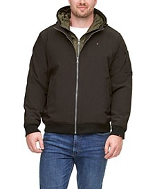 Men's Big & Tall Hooded Soft-Shell Jacket with Inset Quilted Puffer Bib