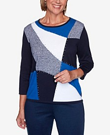 Women's Plus Size Vacation Mode Colorblock Sweater