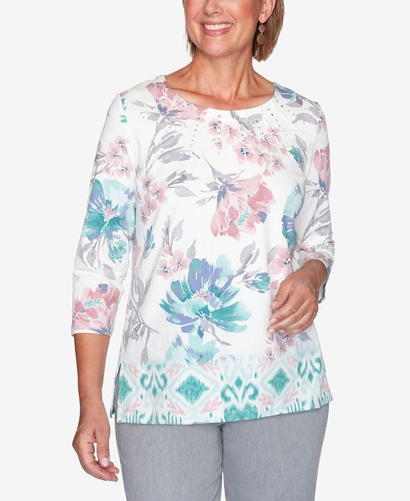 Alfred Dunner Women's Plus Size St. Moritz Border Floral Print Top