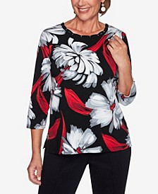 Women's Plus Size Knightsbridge Station Brushstroke Floral Knit Top