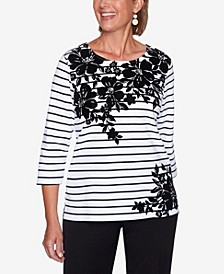 Women's Plus Size Modern Living Floral Yoke Striped Top