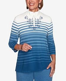 Women's Plus Size Long Weekend Ombre Striped Top