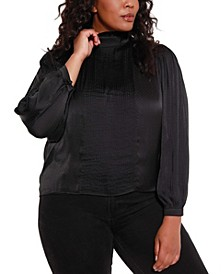 Black Label Women's Plus Size Pin tuck Mock Neck Charmeuse Top