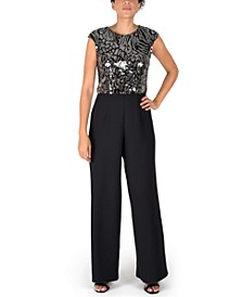 Sequin-Bodice Extended-Shoulder Jumpsuit