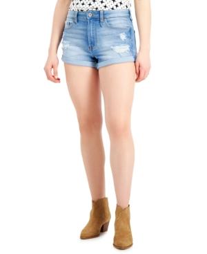 Juniors' High-Rise Roll-Cuff Jean Shorts