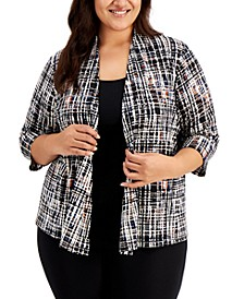 Plus Size Printed 3/4-Sleeve Cardigan
