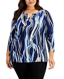 Plus Size Printed Grommet-Trim Blouse