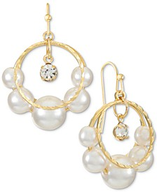 Gold-Tone Crystal Charm & Imitation Pearl Split Hoop Drop Earrings, Created for Macy's