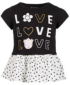 Baby Girls LOVE Peplum Cotton Tunic, Created for Macy's
