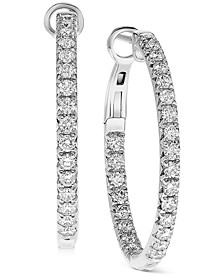 Diamond In & Out Hoop Earrings (1 ct. t.w.) in 14K Gold or 14K White Gold