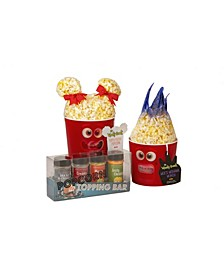 Delicious Buttery Poppi and Moe Popcorn Set with Topping Bar