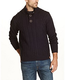 Men's Military Button Mock Sweater