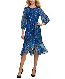 Printed Mixed-Texture Dress