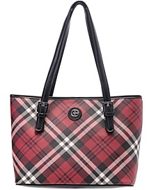 Saffiano Plaid Tote, Create for Macy's
