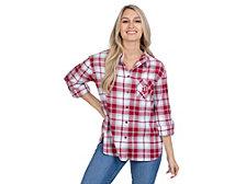 UG Apparel Indiana Hoosiers Women's Flannel Boyfriend Plaid Button Up Shirt