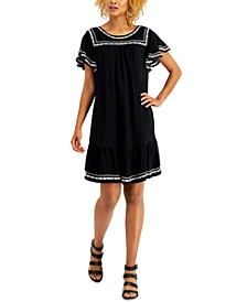 Embroidered Flutter-Sleeve Midi Dress, Created for Macy's
