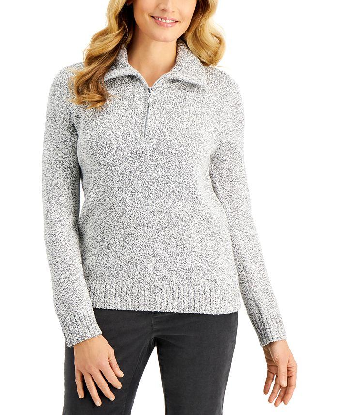 Karen Scott - Zippered-Neck Sweater