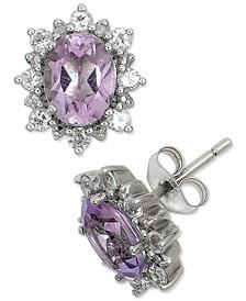 Pink Amethyst (2 ct. t.w.) & White Topaz (5/8 ct. t.w.) Stud Earrings in Sterling Silver