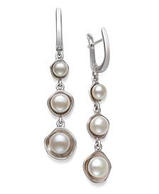 Graduated Cultured Freshwater Pearl 5-8mm Drop Earrings in Sterling Silver