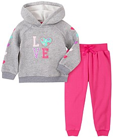 Toddler Girl 2-Piece Hooded Fleece Top with Fleece Pant Set