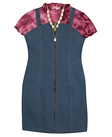 Big Girl Denim Zip-Up Dress Over Rib Knit Mock Neck Top