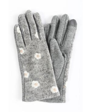 Women's Embroidered Flower Jersey Touchscreen Glove