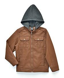 Big Boys Raging Biker Jacket with Fleece Hood, Made For Macy's