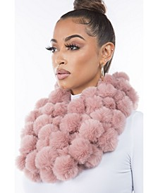 Women's Faux Fur Pom Loop Scarf