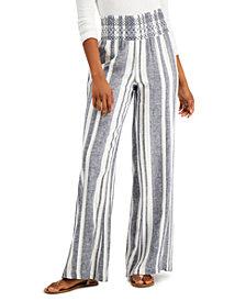 Indigo Rein Juniors' Striped Smocked-Waist Soft Pants