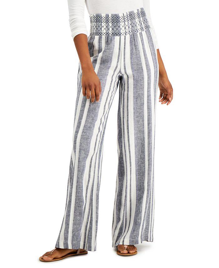 Indigo Rein - Juniors' Striped Smocked-Waist Soft Pants