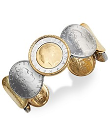 Lira Coin Cuff Bracelet in 14k Gold Vermeil and Sterling Silver