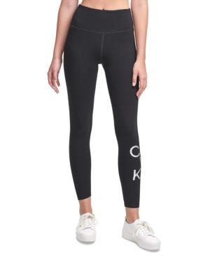 Calvin Klein Performance Logo High-waist Leggings In Silver