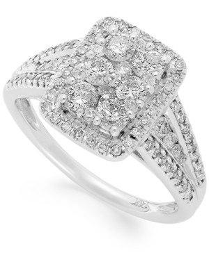 Diamond Rectangular Engagement Ring (1 ct. t.w.) in 14k White Gold