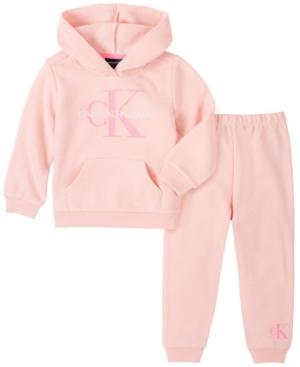 Calvin Klein LITTLE GIRL HOODED FLEECE TOP WITH FLEECE PANT, 2 PIECE SET