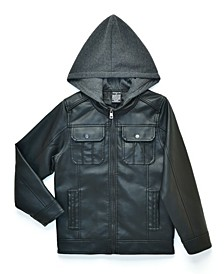 Big Boys Raging Biker Jacket with Fleece Hood, Made For Macy's