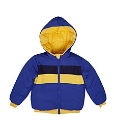 Toddler Boys Solid Hooded Full Zip Reversible Puffer Jacket