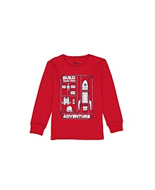 Toddler Boys Long Sleeve Text with Graphic Crew Neck Thermal