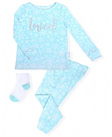 Toddler Girls 2-Piece Snowflake Pajama Sock Set
