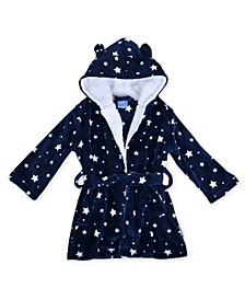 Toddler Boys Star Print Robe with Sherpa Hood