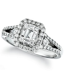 Couture® Vanilla Diamond Baguette Cluster Halo Ring (5/8 ct. t.w.) in Platinum
